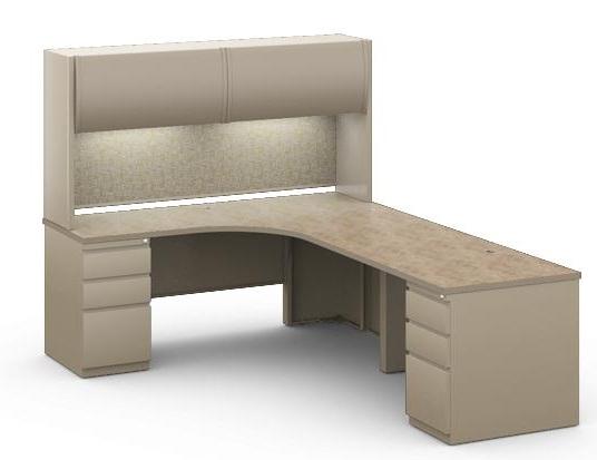 6 X 8 L Shape Steel Office Desk Workstation With Overhead Storage And Filing Pedestal