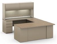 Picture of 6' x 8' U Shape Office Desk Workstation, Steel Office Desk Workstation with Overhead and Filing Pedestal