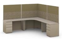 Picture of 8' x 8' L Shape Office Desk Cubicle Workstation, 8 x 8 Steel Office Desk Cubicle