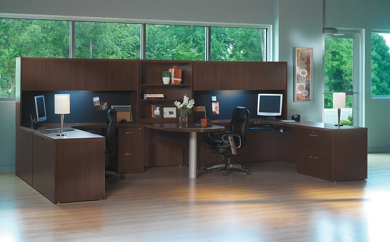 office desk for 2. Mayline Aberdeen 2 Person Workstation, Peninsula Office Desk Workstation  With Overhead Storage Office Desk For E
