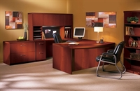Picture of Mayline Aberdeen Laminate U Shape Office Desk Workstation with Hutch and Lateral File Cabinet
