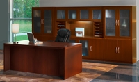 Picture of Mayline Aberdeen Laminate Executive Office Desk Workstation with Storage Credenza, Glass Doors