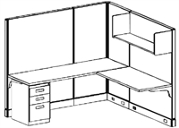 Picture of 6' x 6' L Shape Electrified Office Cubicle Workstation