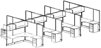 Picture of Cluster of 8, 6' x 6' Electrified L Shape Office Cubicle Workstation with Overhead Shelves