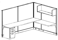 Picture of 6' x 8' Electrified L Shape Office Cubicle Workstation with Overhead Shelf