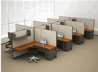 Picture of Cluster of 8, 6' x 8' Electrified L Shape Office Cubicle Workstation with Overhead Shelves, Task Lights