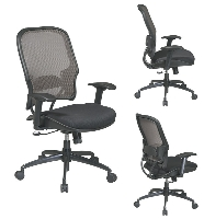 Picture of Office Star 15-38Y718G Mid Back AirGrid Mesh Office Task Chair, Gunmetal Base