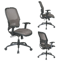 Picture of Office Star 15-88Y718G, Mid Back AirGrid Mesh Chair with Lumbar, Gunmetal Base