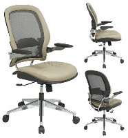 Office Star 335 L82P91A3 Mid Back Mesh Back Chair With Taupe Leather Seat