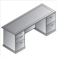 Picture of Office Star Mendocino MENTYP5 Double Pedestal Veneer Kneespace Credenza