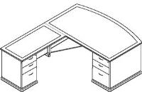 Picture of Office Star Mendocino MENTYP8 L Shape Veneer Office Bow Top Desk