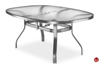 """Picture of Homecrest 1767501, Outdoor Aluminum Glass 63"""" Boat Dining Table with Hole"""