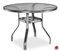 "Picture of Homecrest 1146501, Outdoor Glass 48"" Round Balcony Table with Hole"