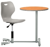 Picture of KI 3601WP-RD, Intellect Wave Auto Height Auto Return Chair with Connecting Table