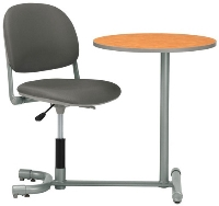 Picture of KI 3601TP-RD, Torsion Auto Height Auto Return Chair with Connecting Table