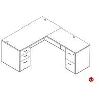 Picture of Laminate L Shape Office Desk Curve Workstation, 2 Filing Pedestals
