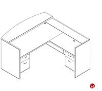 Picture of Laminate L Shape Reception Desk Workstation, 2 Filing Pedestals