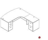 Picture of Laminate L Shape Bowfront Office Desk Workstation, 2 Filing Pedestals