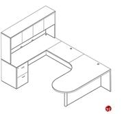Picture of Laminate L Shape P Top Office Desk Workstation, Filing Pedestal