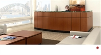 Picture of Contemporary Veneer L Shape Reception Desk Workstation, Glass Counter