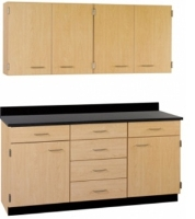 """Picture of 60""""W Cabinetry Suite SA022, Four Door Wall Unit, Base Unit with Countertop"""
