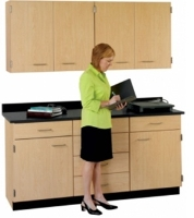 """Picture of 66""""W Cabinetry Suite SA022, Four Door Wall Unit, Base Unit with Countertop"""