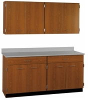 """Picture of 66""""W Cabinetry Suite SA026, Four Door Wall Unit, Base Unit with Countertop"""