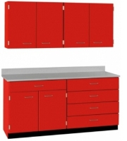 """Picture of 60""""W Cabinetry Suite SA032, Four Door Wall Unit, Base Unit with Countertop"""