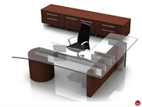 Picture of Contemporary Veneer L Shape Executive Office Desk Workstation, Filing Credenza