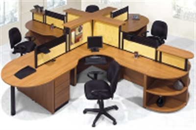 The Office Leader Laminate Person Desk Cubicle Workstation Quad - 4 person conference table