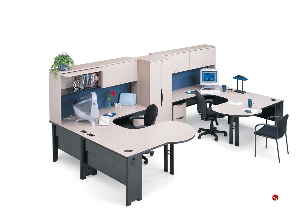The office leader abco endure endconfig8 2 person u shape office desk workstation - Two person office desk ...