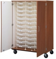 "Picture of 67""H Mobile Storage Cabinet, 18 Bins, Racking System"