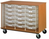 "Picture of 36""H Mobile Storage Cabinet, 18 Bins with Racking System, Doors"