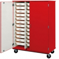 "Picture of 67""H Closed Mobile Storage Cabinet, 36 Trays Wire Rack System, Doors"
