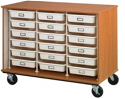 "Picture of 36""H Open Mobile Storage Cabinet, 18 Trays Wire Rack System"
