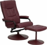 Picture of Burgundy Leather Swivel Recliner with Ottoman