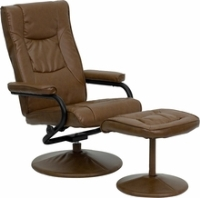 Picture of Camel Leather Swivel Recliner with Ottoman
