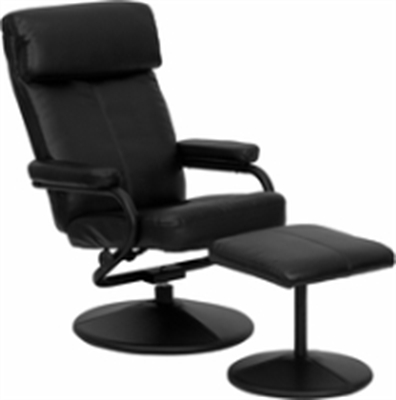 Picture of Black Leather Swivel Recliner with Ottoman, 9856822