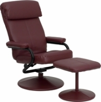 Picture of Burgundy Leather Swivel Recliner with Ottoman, 9856824