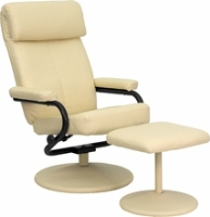Picture of Cream Leather Swivel Recliner with Ottoman, 9856825