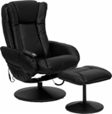 Picture of Black Leather Swivel Massaging Recliner with Ottoman, 9856831