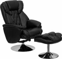 Picture of Black Leather Tufted Swivel Recliner with Ottoman, Headrest, 9856834