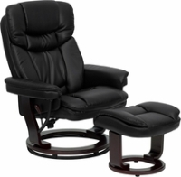 Picture of Black Leather Swivel Glider Recliner with Ottoman, 9856837