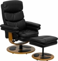 Picture of Black Leather Swivel Glider Recliner with Ottoman, 9856839