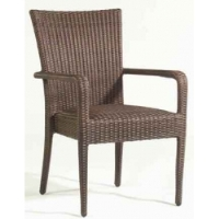Picture of Whitecraft All Weather S593801, Wicker Padded Cafeteria Dining Arm Chair