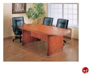 "Picture of 36"" x 72"" Oval Laminate Conference Table with 3 Leather Chairs"