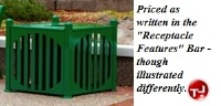 Picture of Outdoor Savannah 32 Gallon Steel Trash Receptacle with Plastic Liner