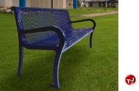 "Picture of Lexington 954, 48"" Outdoor Perforated Cast Aluminum - Steel Bench with Back"