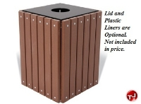 "Picture of Outdoor 32"" Gallon Square Recycled Trash Receptacle"