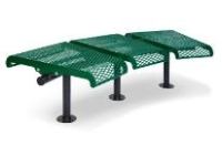 Picture of Outdoor 715 730 Series 3-Seat Backless Steel Bench,Portable 15 Degree Concave